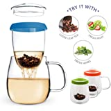 Teabloom - CLEARANCE SALE - Extra Large Heat-Resistent Tea Infuser Mug with Blue Steeper Silicone Ring 600ml / 20 oz.