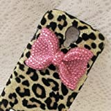 Bling Shiny 3D Black BOW Leopard Key Case Cover For Samsung Galaxy S4 Active (i9295 Water Resistant Version) (Pink Bow)