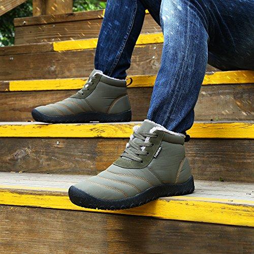 SAGUARO® Herren Damen Winterschuhe Warm Gefüttert Winter Stiefel Kurz Schnür Boots Schneestiefel Outdoor Freizeit Schuhe Grau
