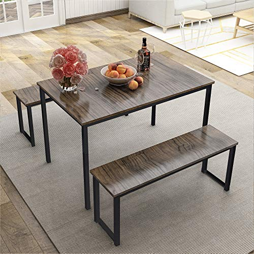 LZ LEISURE ZONE Dining Table Set, 3-Piece Wood Kitchen Table with Two Benches, Dining Room Furniture Modern Style Contemporary (Brown & Black)