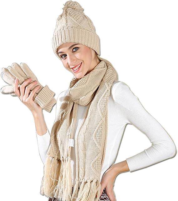 Hat /& Glove Set coffee coffee One size Tukistore Womens Scarf