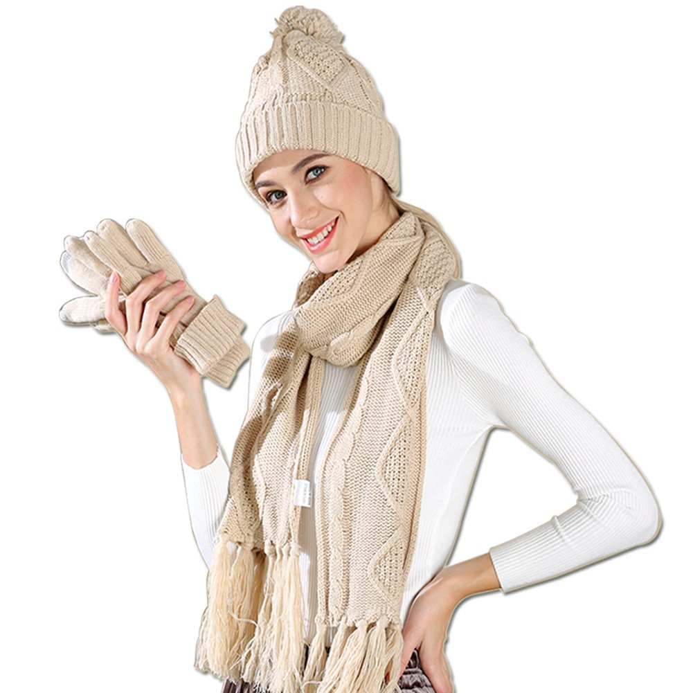Warm Scarf Glove Hat Beanie Set Cable Knit Cashmere Like Winter Gift Set Pom Cap (Beige)