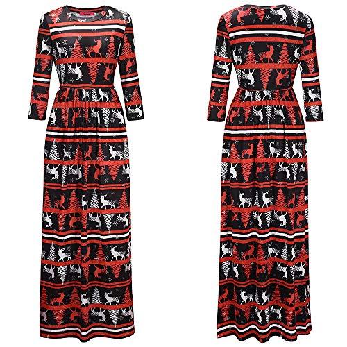 Femelle Impression Polyester Robe Jupe Longue 1206 Noel Manche Rond Col wfqE4v8R