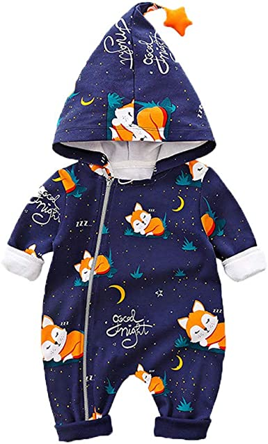 Newborn Baby Girl Boy Clothes Jumpsuit Cartoon Animal Infant Winter Warm Hoodie Romper Outfit