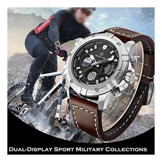 1a411bc154a Tamlee Mens Sport Watch Digital Analog Waterproof Multifunctional Military  Brown Leather Wrist Watches