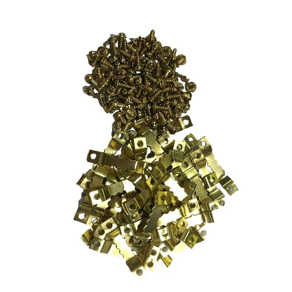 perfk Set De 50pcs Scie Fortes en Dents Fixation pour Cadre Photo Accroché Cintres à Double Trou avec Vis