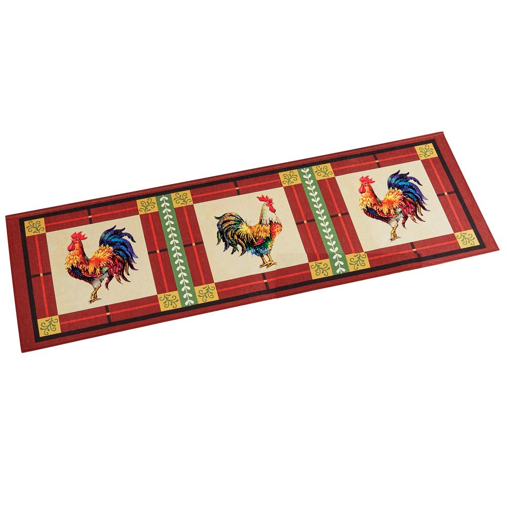 "Charming French Country Rooster Accent Rug with Skid-Resistant Backing, 20"" X 60"""