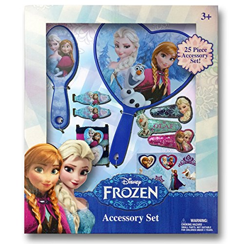 Disney Frozen Jewelry Box Set with Snap Clips, Barrettes, Brush, Mirror & Terry Ponies