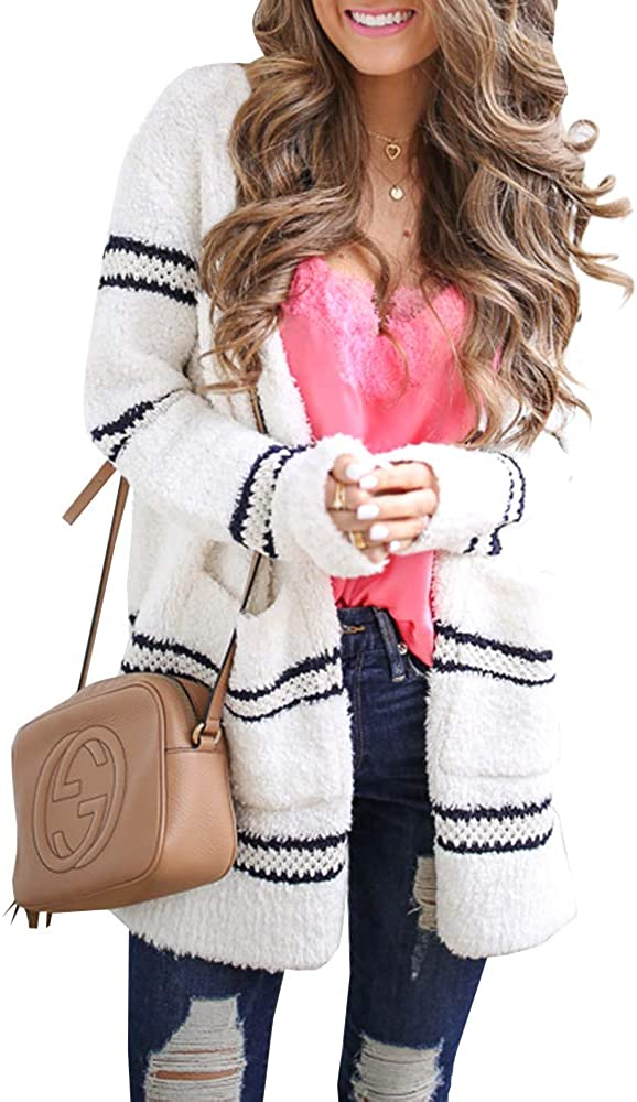 Ferbia Women Fuzzy Cardigan Sweater Striped Oversized Boyfriend Chunky Fleece Open Front Long Sleeve Loose Knit Pocket