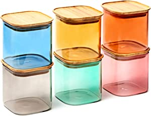 EZOWare 6 Piece Colorful Stackable Glass Jar Set, Square Air Tight Kitchen Food Storage Canister with Lid for Candy, Cookie, Rice, Sugar, Flour, Pasta, Nuts - 24oz