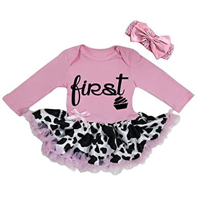 Cute First Birthday Pink Cowgirl Black Glitter Baby Girl Tutu Dress Outfit Xlarge 12