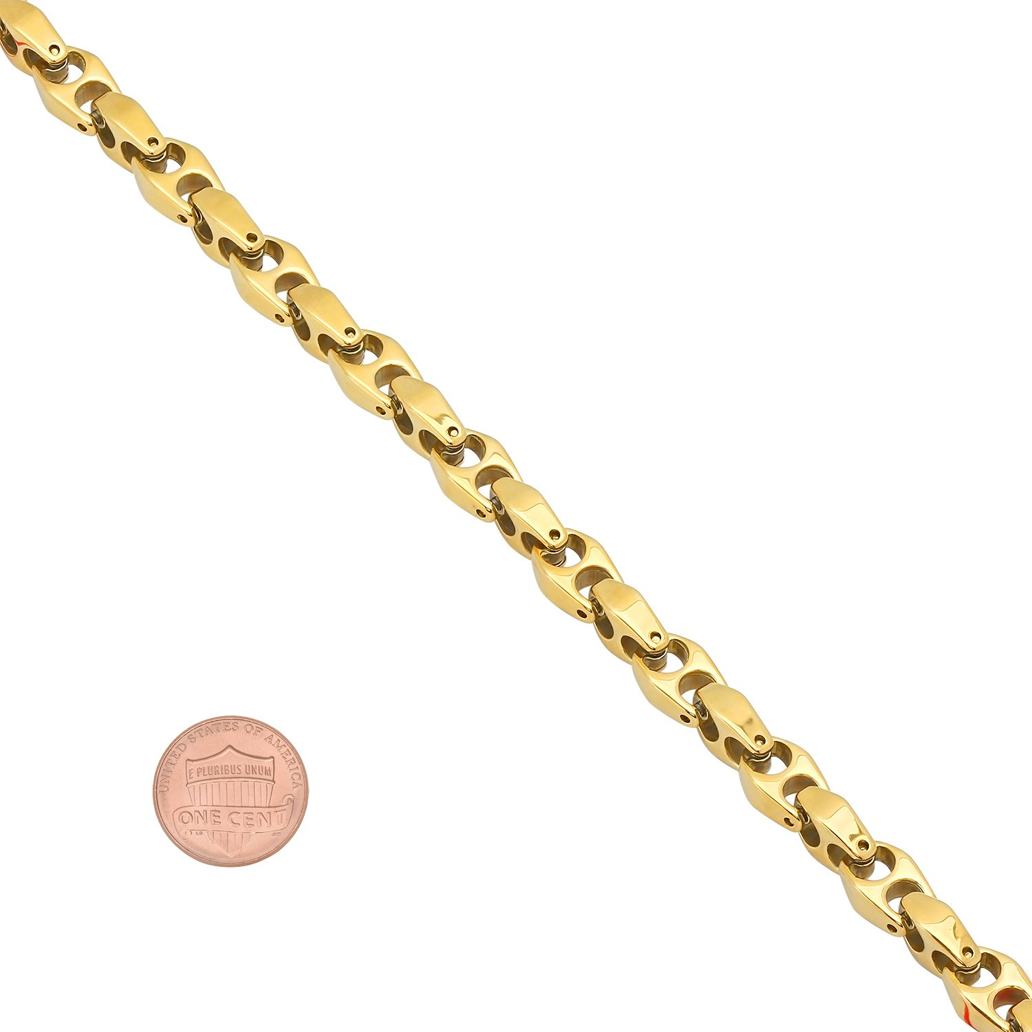 The Bling Factory 14k Gold Plated Durable Tungsten 6mm Puffed Mariner Link Chain Necklace Jewelry Polishing Cloth