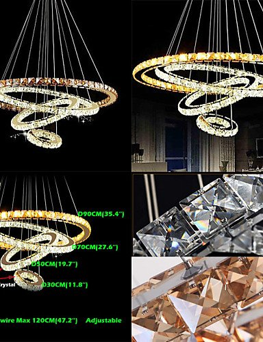 YanCui@ Modern LED Crystal Pendant Lights Ceiling Chandeliers Lamp with 4 Rings Large Ring Amber Crystal and Other Clear Crystal , cool white-220-240v