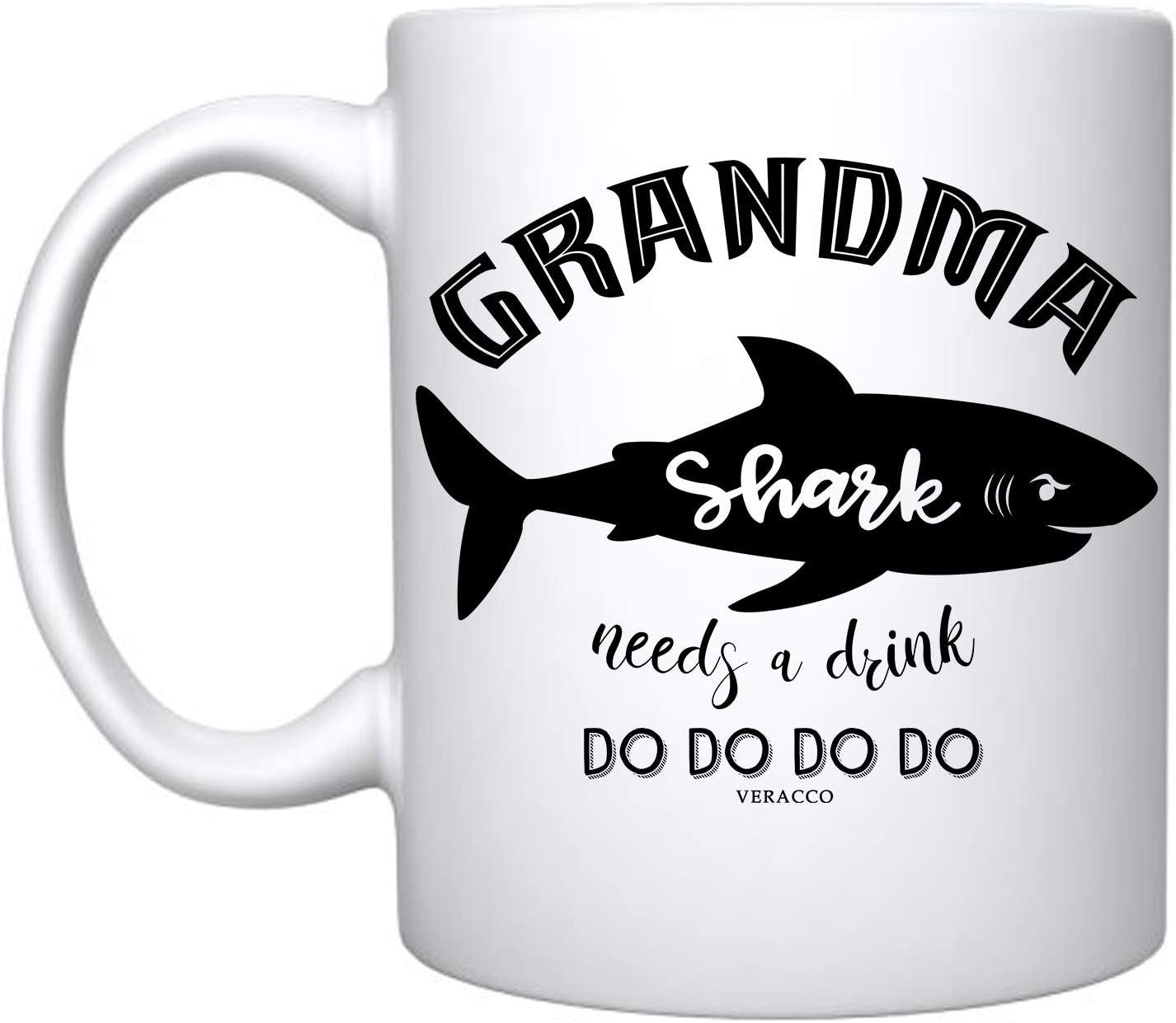 Veracco Grandma Shark Needs a Drink Ceramic Coffee Mug Funny Shark Mother's Day Gifts For Granny Nana