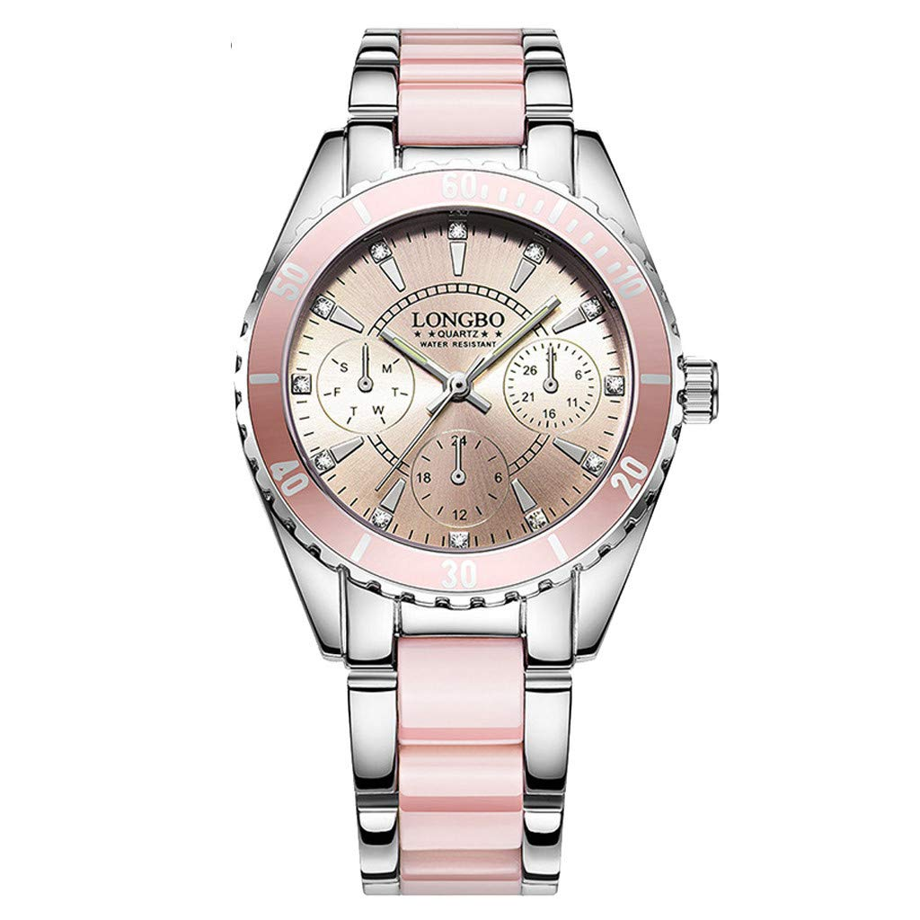 GXOK Luxury Fashion Watch for Women Ceramic and Alloy Analog Watch with Box (Pink) by GXOK