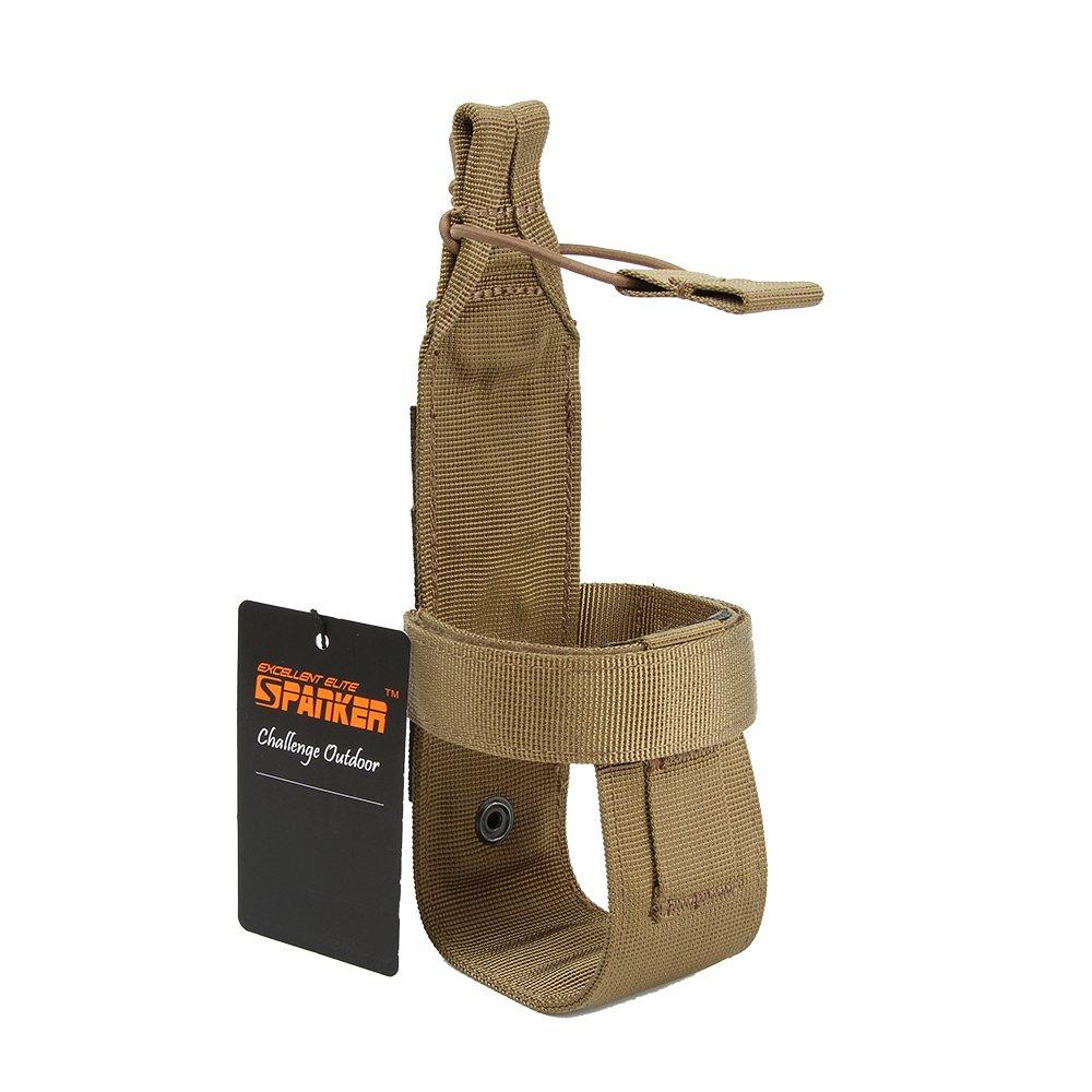 EXCELLENT ELITE SPANKER Outdoor Tactics Portable Belt Bottle Holder Molle Bottle Carrier for Hunting Walking Running Cycling Hiking Can Adjust The Size(Coyote Brown)