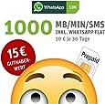 WhatsApp SIM Prepaid [SIM, Micro-SIM, Nano-SIM] - Starterpaket mit 15 EUR Guthabenwert; Option mit 1000 Einheiten für MB/MIN/SMS im 1. Monat inklusive, ohne Vertragsbindung, Surf-Geschwindigkeit: 21,6 MBit/s