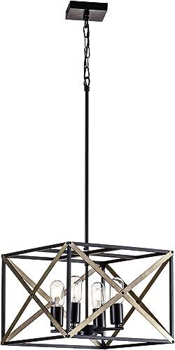 Maxax Lantern Pendant Light 4 Lights Industrial Vintage Lantern Iron Cage Hanging Lantern Chandelier