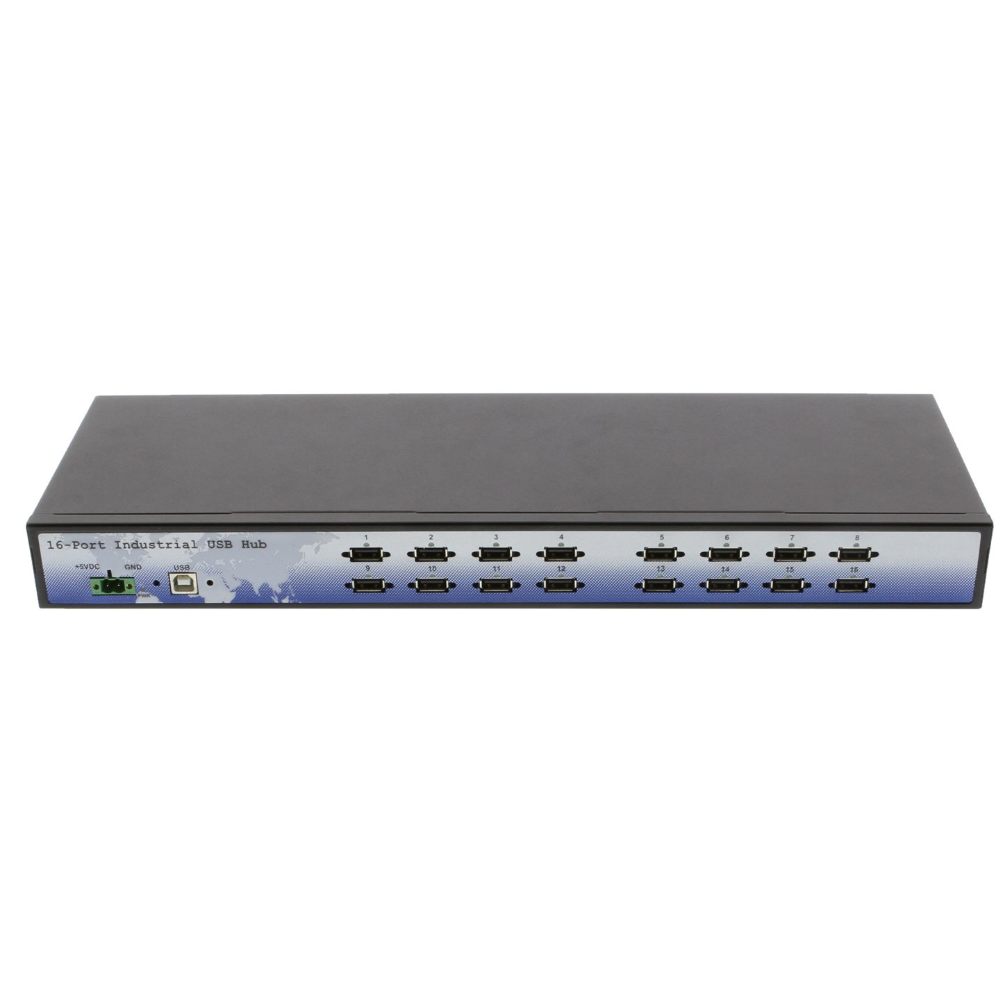 Coolgear CoolGear Industrial 16 Port Rack Mountable USB 2.0 Hub, Built in Internal Power Supply.