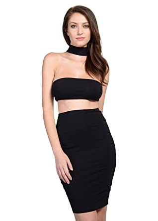a1e43fb264 Wink Gal Women s Sexy Strapless Bodycon Halter Neck Hollow Out Tube Club  Dress Black XS