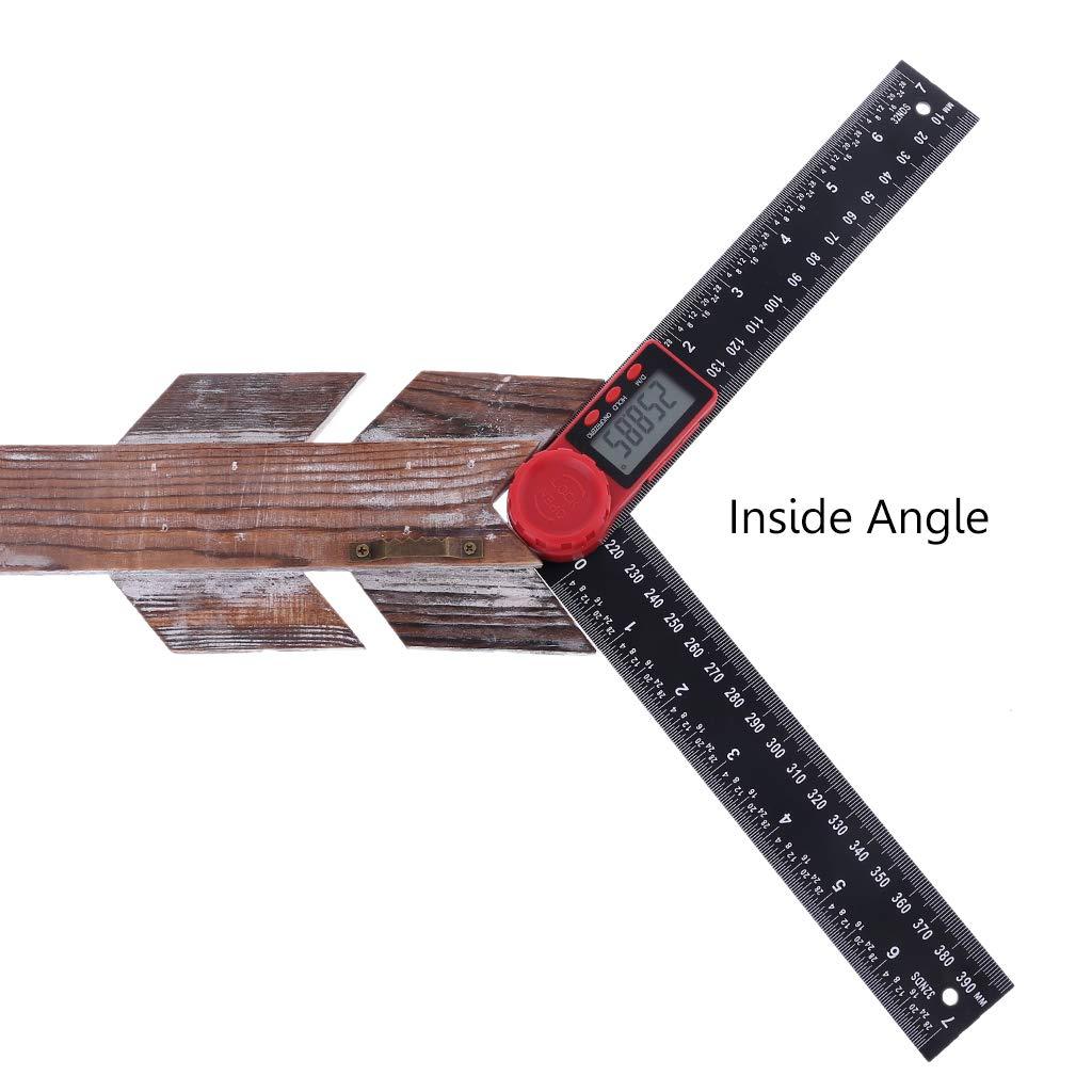 carpinter/ía 7 pulgadas 200 mm recorte FangWWW 2 en 1 Transportador de /ángulos digital regla para corona
