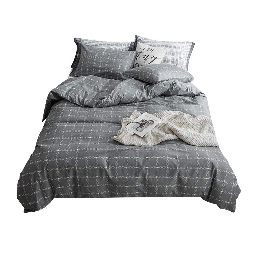 ホームテキスタイルベッド4組の夏と秋の新鮮な裸の睡眠ダブルシンプルなコットン綿のキュートなプリントシーツキルトカバー枕カバー B07SHZ488G