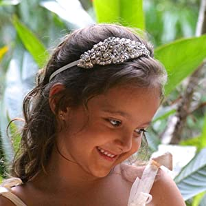 Denifery Flower Girl Headband Rhinestone Headband Baby headbands Headband Bridal Headband Crystal Headband Bling Headband Christening Bow Wedding Hair Accessories