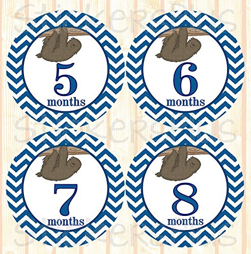 Baby Boy Month Stickers Monthly Baby Milestone Stickers Chevron Blue Jungle Safari Sloth Baby Age Stickers -