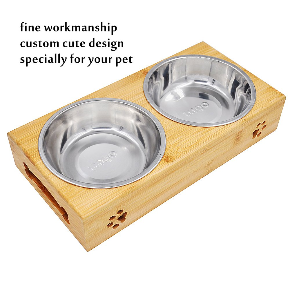 MLCINI Raised Dog cat Bowls with Stand, Solid Bamboo Non Slip Elevated Dog cat Bowls and 2 Stainless Steel Food Water Bowls for Small Medium Dogs Cats pet