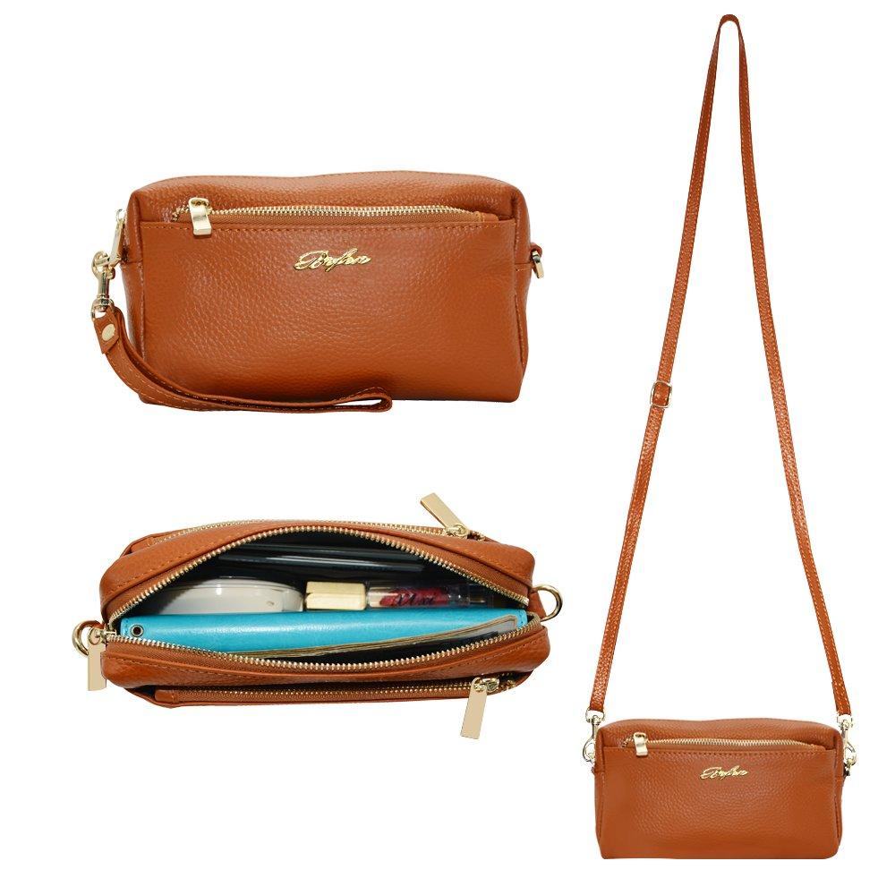 Befen Women Full Grain Leather Tripple Zip Crossbody Bag Crossbody Cell Phone Wallet Purse Bag Phone Wristlet 4326889630