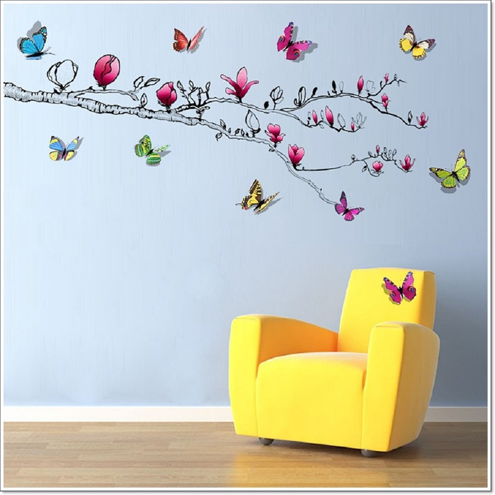 Walplus Wall Stickers Shinning Butterfly Magnolia Flower Removable - Butterfly wall decals 3d