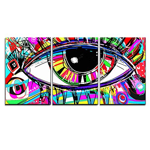 """Wall26 - 3 Piece Canvas Wall Art - Original Abstract Digital Painting of Human Eye, Colorful Composition - Modern Home Decor Stretched and Framed Ready to Hang - 16\""""x24\""""x3 Panels"""