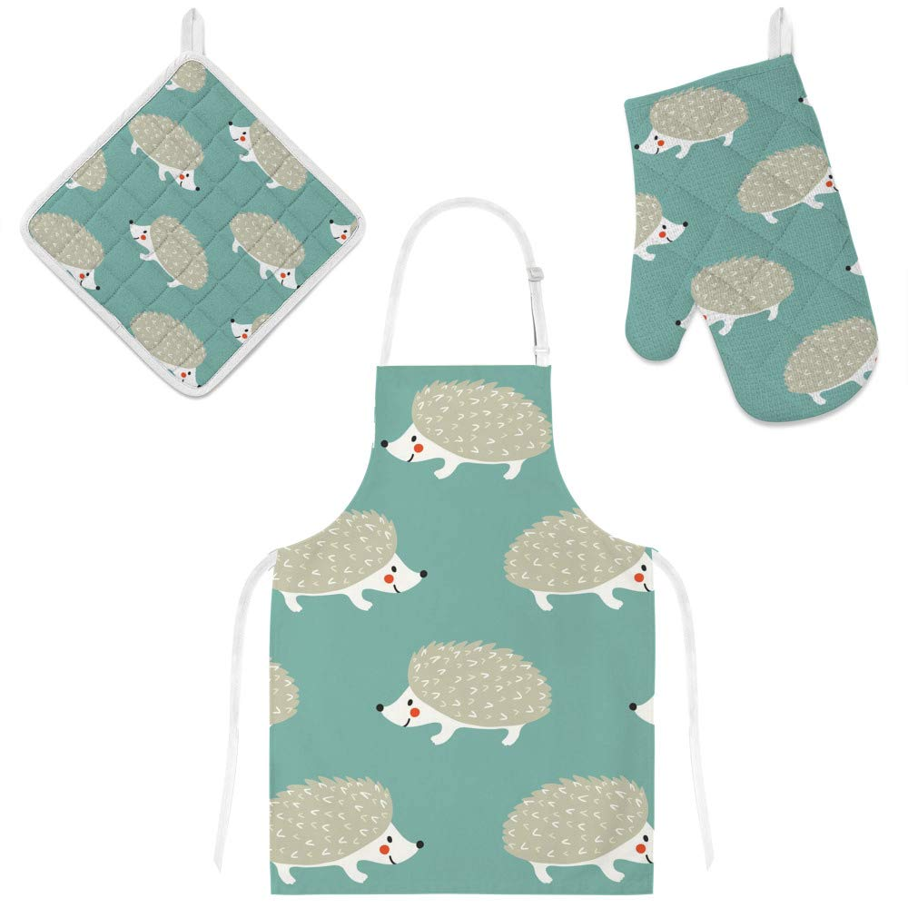 Top Carpenter Polyester Kitchen Oven Mitts Glove Potholder Apron 3Pcs Set Cute Hedgehogs Non Slip Heat Resistant Mitts for Baking Cooking BBQ