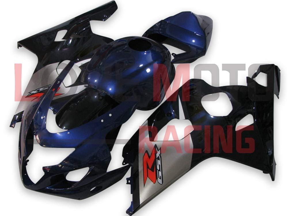 LoveMoto ブルー/イエローフェアリング スズキ suzuki GSX-R600 GSX-R750 K4 2004 2005 04 05 GSXR 600 750 ABS射出成型プラスチックオートバイフェアリングセットのキット ブルー ブラック   B07KF816DF