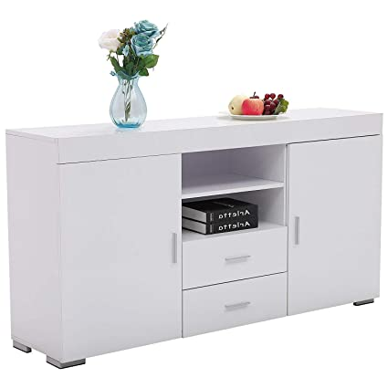 Bon Mecor Kitchen Storage Sideboard Table Cabinet Cupboard Dining Buffet 2  Doors /2 Drawers Living Room
