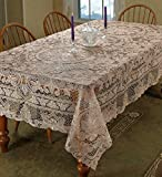 Violet Linen Crystal Embroidered Vintage Lace Design, 70'' x 120'', Cream