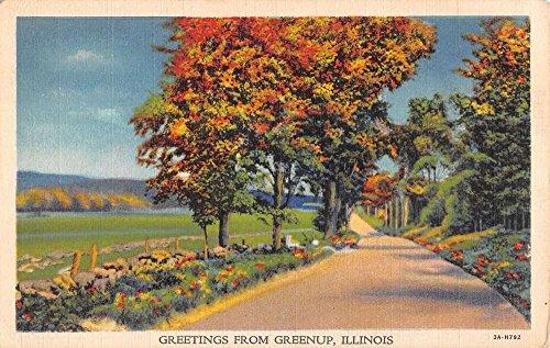 Autumn Way - Greenup Illinois Autumn Road Way Greeting Antique Postcard K41253