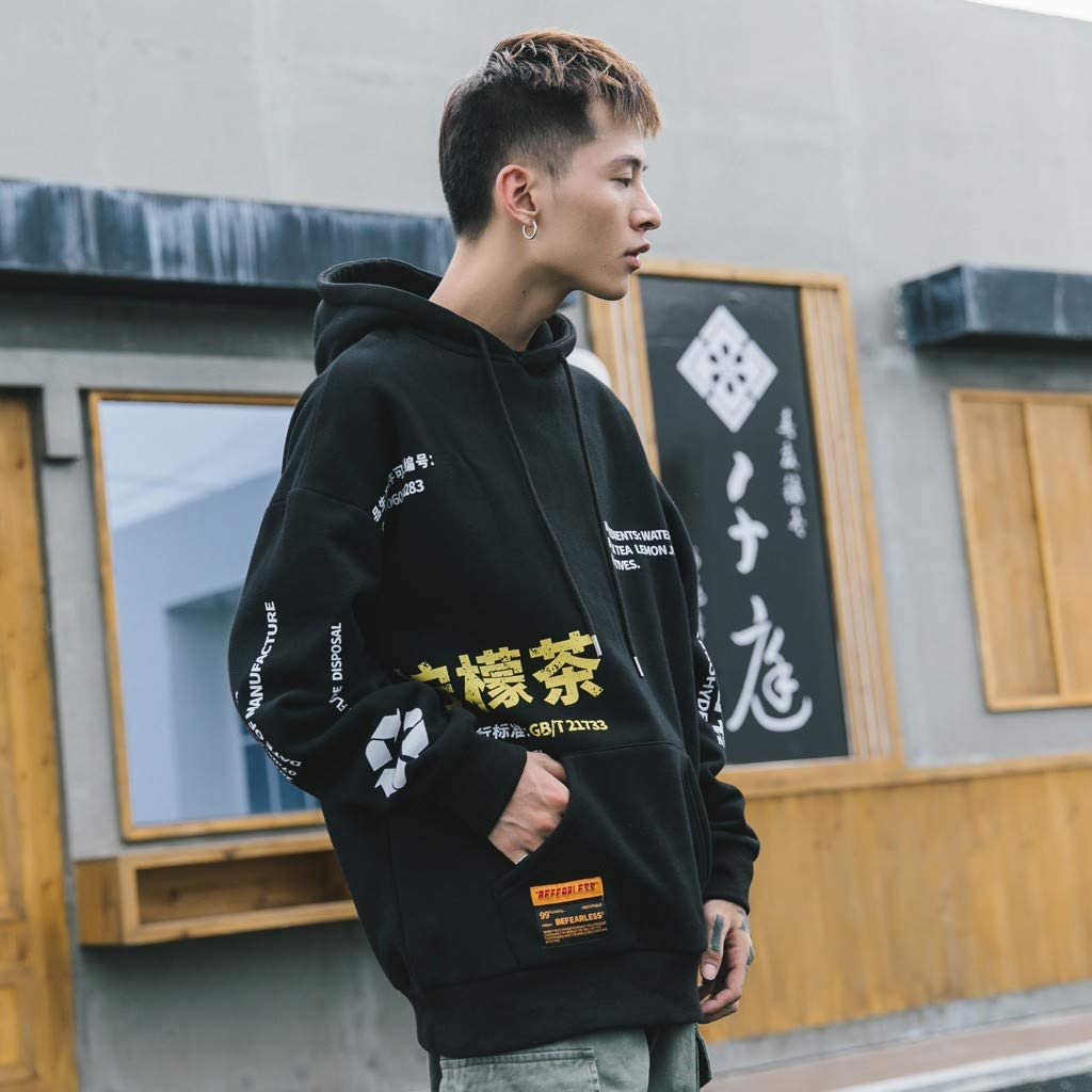 Fashion Men Casual Solid Letter Print Long Sleeve Pocket Hoodies Drawstring Sweatshirt Hip Hop Streetwear Tops