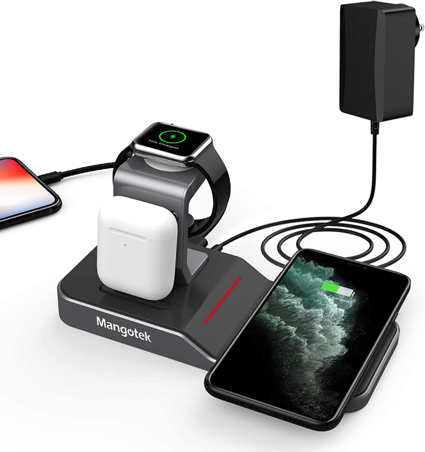Mangotek Apple Watch Stand Wireless Charger, 4 in 1 Charging Station with Lightning Connector and USB Port for iPhone 12/12 mini/12 Pro/12 Pro Max/11/11 Pro/X/XR/XS/8 and iWatch Serie SE/6/5/4/3/2/1