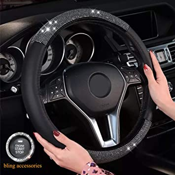 Black Microfiber Leather and Diamond Universal 15 inch KAFEEK Diamond Leather Steering Wheel Cover with Bling Bling Crystal Rhinestones