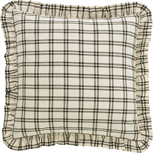 VHC Brands 34621 Classic Country Farmhouse Bedding-Prairie Winds Green Fabric Euro Sham