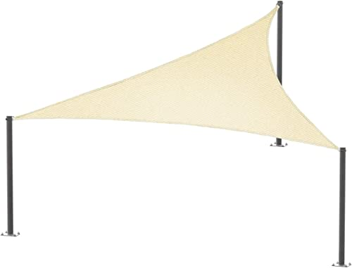E K Sunrise 15' x 25' x 29' Beige Sun Shade Sail Right Triangle UV Block Durable Awning Perfect