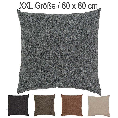 XXL Melange-Kissen mit RV und herausnehmbarer Füllung / 60x60 cm / Deko-/Zierkissen / Sofakissen / grau