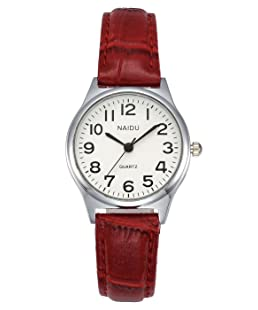 MANIFO Women's Classical Arabic Numerals Analog Quartz Wrist Watch, 3 ATM Water Resistant (Red)