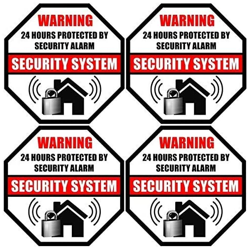 SECURITY SYSTEM SIGNS ~1 Sign /& 3 Free Decals~ alarm Property 24 Hour protection