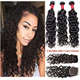 VIPbeauty Hair Bundles with Closure Water Wave Brazilian Virgin Hair Bundle with Free Part Closure Natural Black 95-100g/pc(16 18 20 with 14)