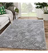 Zareas Modern Furry Area Rugs for Living Room 4'x5.9' Grey Shag Rug for Bedroom Fluffy Soft Fuzzy...