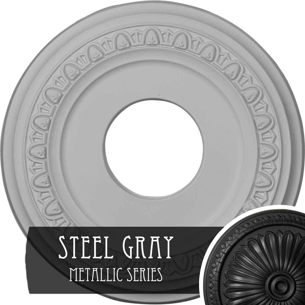 Ekena Millwork CM12JASGS 12 1/4'' OD X 4'' ID X 1 1/8'' P Jackson Ceiling Medallion fits Canopies up to 7 3/8'', Steel Gray