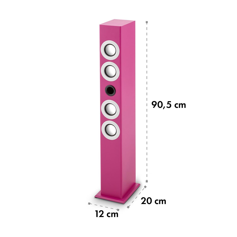 Oneconcept Tallgirl • Set de Karaoke • Torre de Sonido con 4 Altavoces de Banda Ancha • Bluetooth • Potenciador de Bajos • LED • 2 Micrófonos Alámbricos • Rosa OCT-1400-tbkp