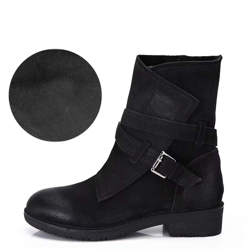 YZ-schuhe Leder-Stiefeletten Frauen dick mit Retro britischen Wind Martin Stiefel Plus Velvet Flache große Größe Damen Stiefel